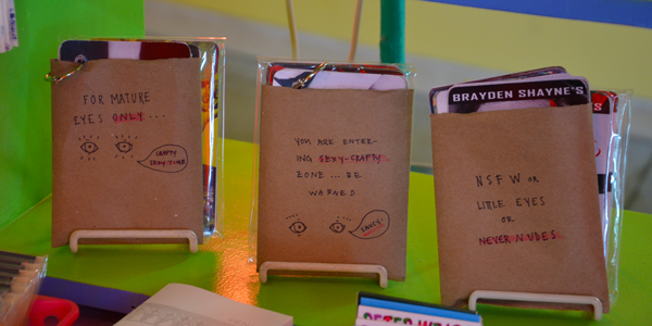 Craftland's adorable display of Brayden Shayne's Dirty Pictures cards